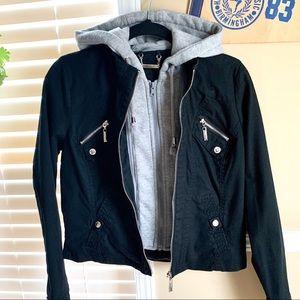 Jou Jou Black Jean Hoodie Jacket 3-Zipper
